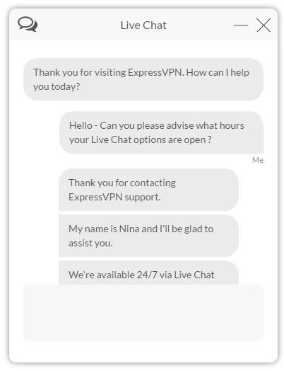 ExpressVPN - chat window