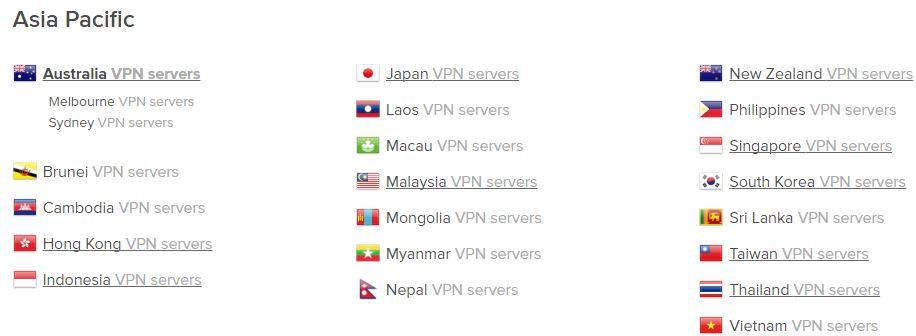 ExpressVPN - Australian server list