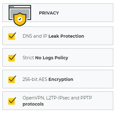 CyberGhost VPN - privacy
