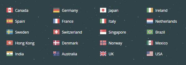 TunnelBear VPN - server locations